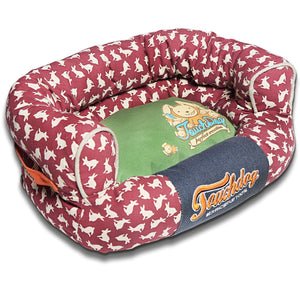 Touchdog ® 'Lazy-Bones' Rabbit-Spotted Designer Couch Dog Bed Medium Champaign Red, Olive Green