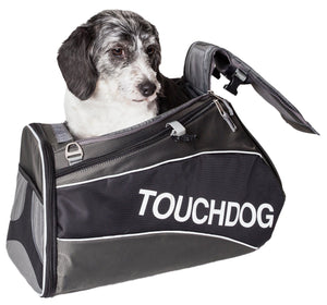 Touchdog ® 'Modern-Glide' Airline Approved Water-Resistant Sporty Travel Fashion Pet Dog Carrier Jet Black