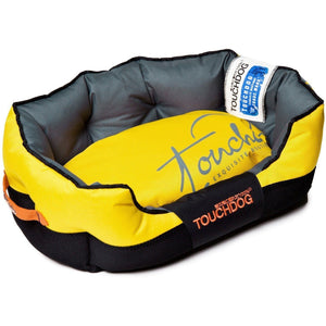 Touchdog ® 'Performance-Max' Sporty Reflective Water-Resistant Dog Bed Medium Sporty Yellow, Black