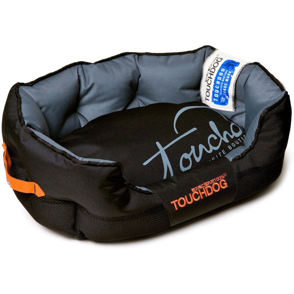 Touchdog ® 'Performance-Max' Sporty Reflective Water-Resistant Dog Bed Medium Black, Grey