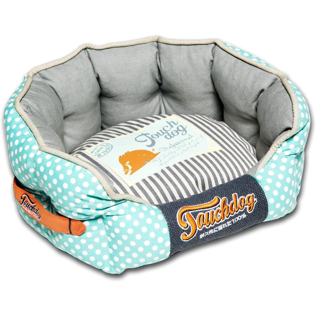 Touchdog ® 'Polka-Striped' Polo Designer Premium Rounded Dog Bed Medium Baby Blue, Stee...