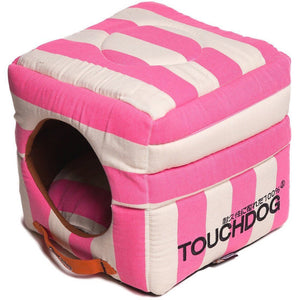 Touchdog ® 'Polo-Striped' 2-in-1 Convertible and Collapsible Dog and Cat Bed Pink, White
