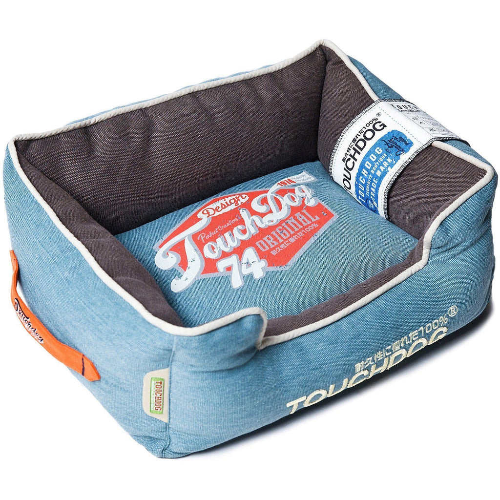 Touchdog ® 'Sporty Vintage' Original Reversible Rectangular Designer Dog Bed Medium Dar...