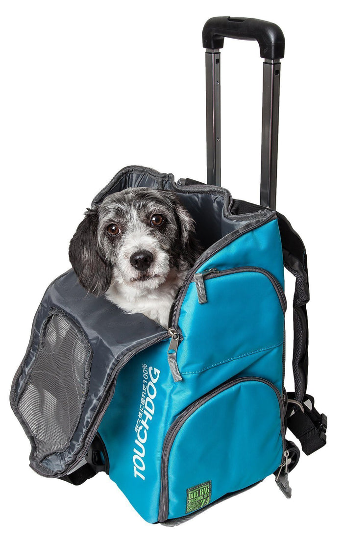 Touchdog ® 'Wuffle Duffle' 2-in-1 Wheeled Backpack Sporty Pet Carrier