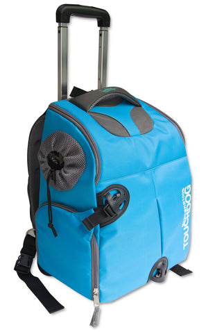 Touchdog ® 'Wuffle Duffle' 2-in-1 Wheeled Backpack Sporty Fashion Pet Dog Carrier Blue