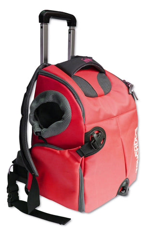 Touchdog ® 'Wuffle Duffle' 2-in-1 Wheeled Backpack Sporty Fashion Pet Dog Carrier Red
