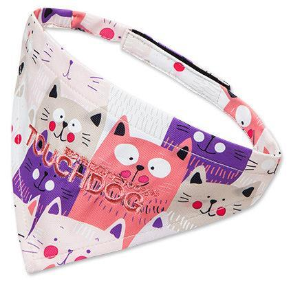 Touchdog ®'Head-Popper' Fashion Designer Printed Velcro Dog Bandana Pink Small