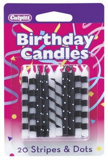 20 Black Stripes and Dots Pattern Candles
