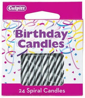 24 Black & White Spiral Candles