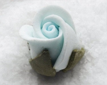 "Pastel Blue Rosebud Flower - 1"" Set of 3 - Gumpaste"