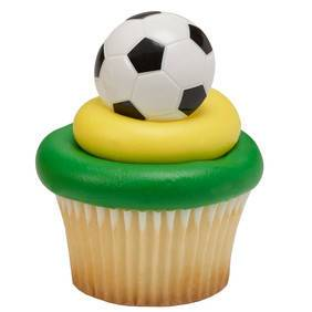 Soccer Cupcake Picks or Rings - Rings