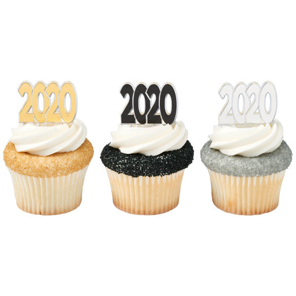 Graduation 2020 gold ,silver, black 4 of each color / Cupcake Picks
