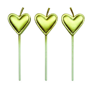 GOLD HEARTS CANDLES SET/8