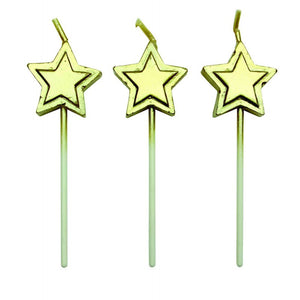 GOLD STARS CANDLES SET/8