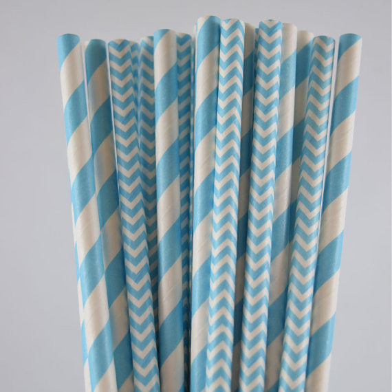 Light Blue Paper Straws, Chevron & Stripped