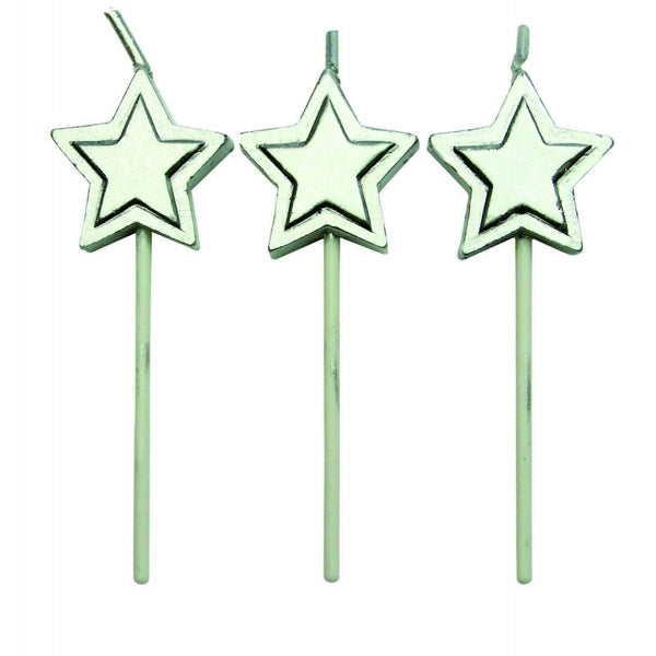 SILVER STARS CANDLES SET/8