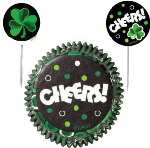 St. Patrick's Day cupcake liners and picks set