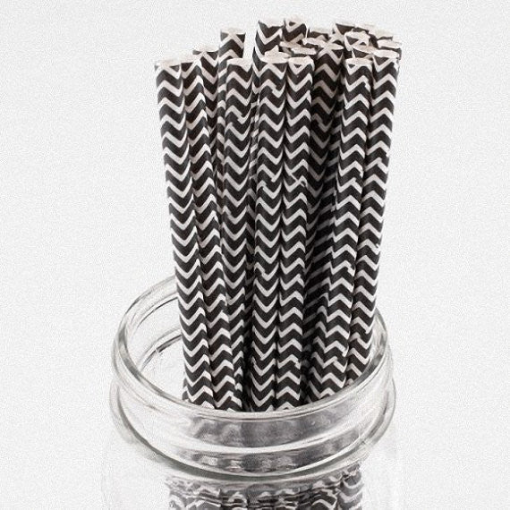 Straws Cake Pop Sticks Black Chevron
