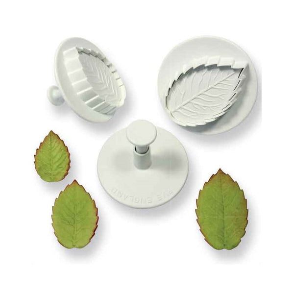 VEINED ROSE LEAF PLNGR CTR LRGR SIZE SET 3