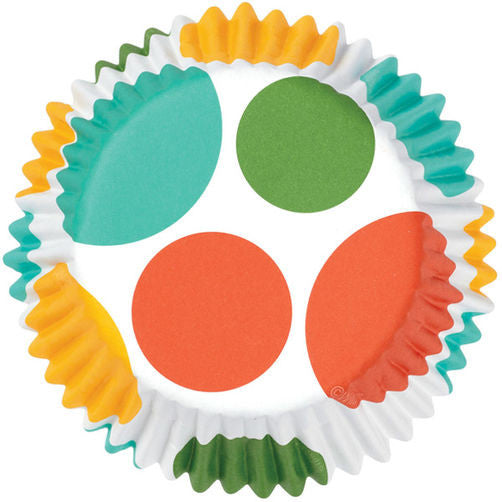 YELLOW/BLUE/ORANGE/GREEN DOTS COLORCUPS BAKING CUPS