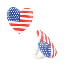 12 Heart American Flag Cupcake Rings - Patriotic USA 4th of July Independence Day