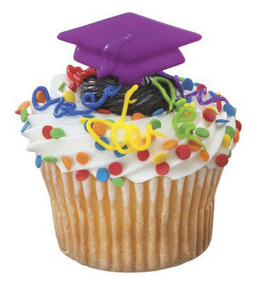 12 Purple Grad Cap Cupcake Picks - Graduate Graduation Cap Hat