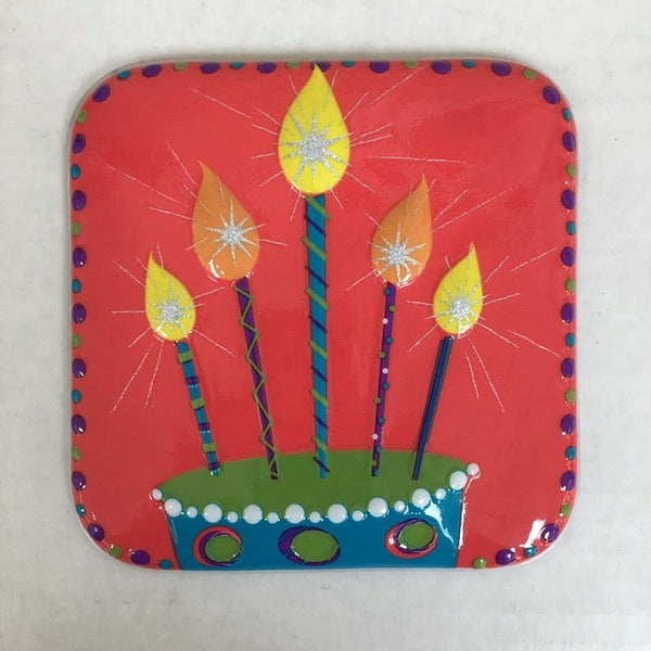"Birthday Candles 5"" POP TOPS - Cake Plaque Pick Topper Happy Birthday"