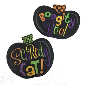 CAKE LAY ON Scaredy Cat & Boogity Boo Halloween Cake Layon Set 2 pieces - Cake Plaque Pick Topper Happy Halloween!