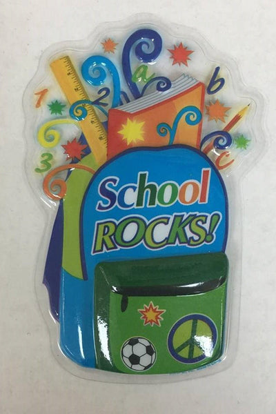 "School Rocks 5.5"" Cake Lay On Pop Top - Cake Plaque Pick Topper Back to School"