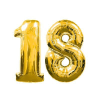 "18 Gold Foil # Balloon - 38"" Number Balloons"