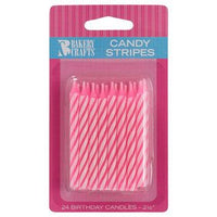 "24 Pink & White Candy Stripes Candles 2.5"" Birthday Candle"