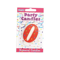 "0 Birthday Candle - 2.5"" Red #0 number zero"