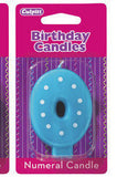 "Number ""0"" Birthday Candles (6 colors / designs)"