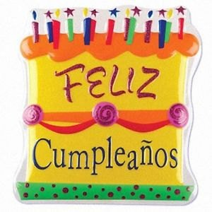 "Feliz Cumpleaños 7"" x 8"" POP TOPS - Cake Plaque Pick Topper Happy Birthday Spanish Cumpleanos"