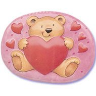 Bear holding Heart Cake Pop Top - Cake Plaque Pick Topper Valentine's Day