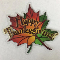 "2 PC Happy Thanksgiving Leaf 5"" Cake Lay On Pop Top - Cake Plaque Pick Topper Winter Holidays Christmas"