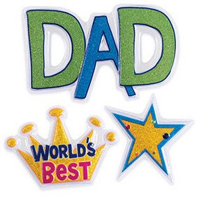 "World's Best Dad Cake Lay on 4"" Set POP TOP - Cake Plaque Pick Topper"