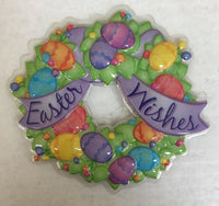 "Easter Wishes Wreath 5"" Cake Lay On - Cake Plaque Pick Topper Easter Spring Pop Top"