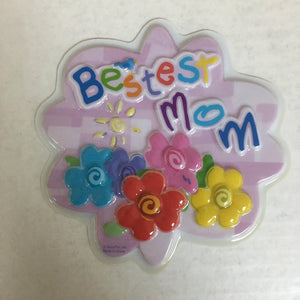"Bestest Mom Cake Lay On Plaque 6"" Set POP TOP - Cake Plaque Pick Topper"