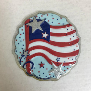 American Flag Round Plaque Topper