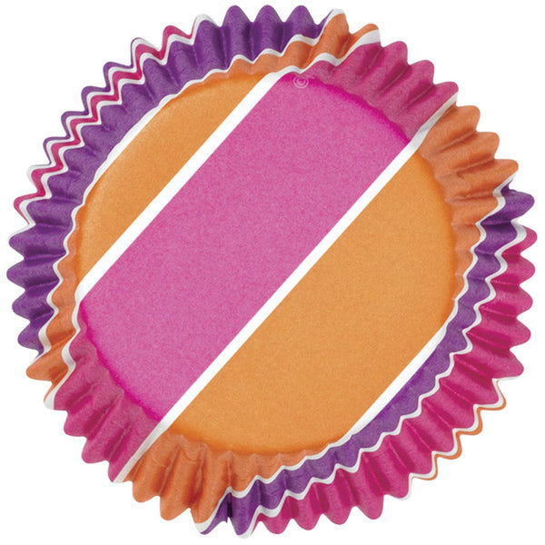 36 Wilton Color Cup Pink Purple Orange Stripes Celebrate Baking Cups - Cupcake Liners