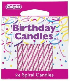 "24 Pink & White Spiral Candles 2.5"" Birthday Candle"