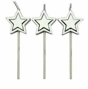 "8 Silver Stars Candles 3"" - Metallic Birthday Candle"