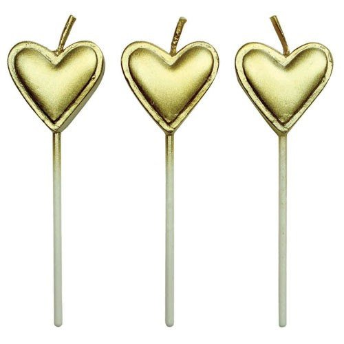"8 Gold Hearts Candles 3"" - Metallic Birthday Candle"