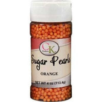 3-4 mm Orange Sugar Pearls 4 oz Jar - 113.4 g Sprinkles Beads