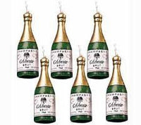 6 Champagne Bottle Shaped Candles - Wilton Celebration Wedding Engagement Party