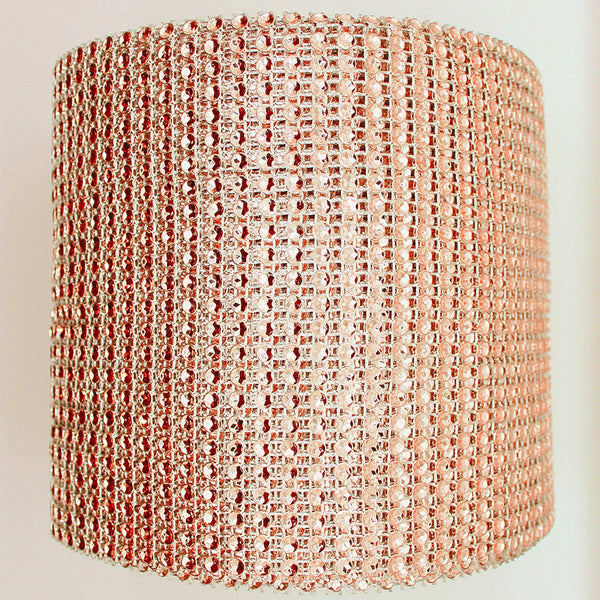 "30""-33"" X 4"" Rose Gold Cake Wrap Bling - Rhinestone Mesh Diamond like Champagne Copper Bronze Blush"