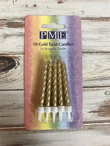 Gold Twist Candles PME 10 pk