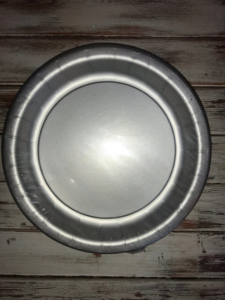 "Shimmering Silver 9"" Plates 24 count"