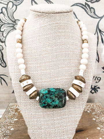 TURQUOISE WITH AFRICAN BRASS